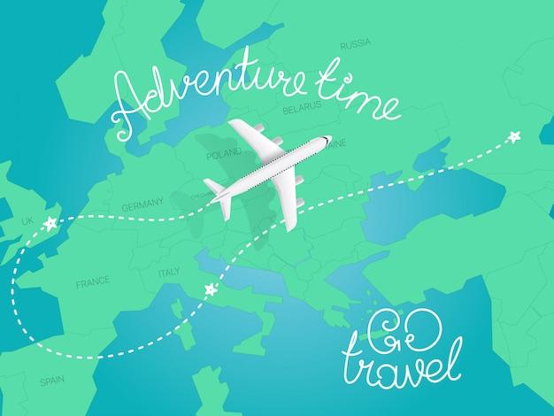 Concetto di tempo di avventura. illustrazione vettoriale di vista superiore