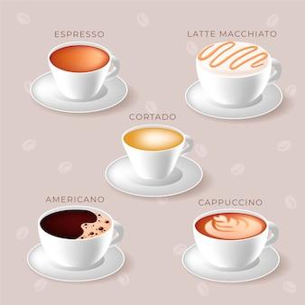 Concetto di tipi di caffè