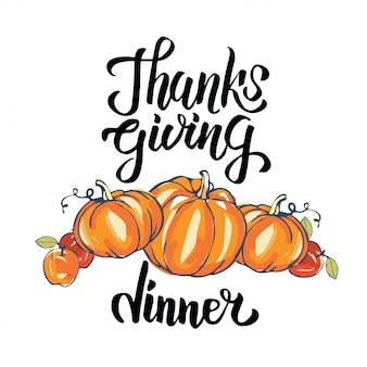 Concetto di tipografia cena del ringraziamento disegnata a mano