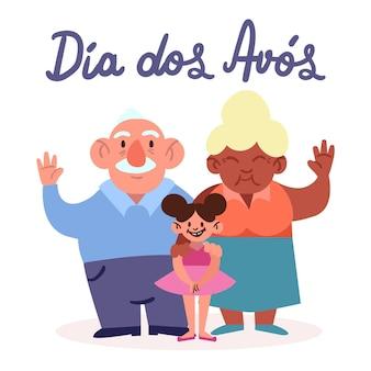 Concetto di tiraggio dell'illustrazione di dia dos avós