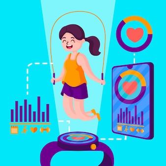 Concetto di tracker fitness design piatto