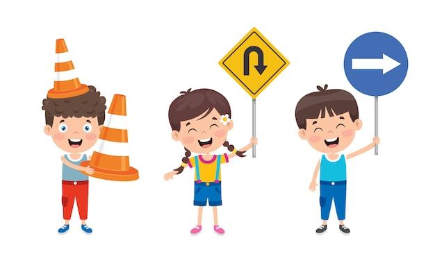 Concetto di traffico con personaggi divertenti