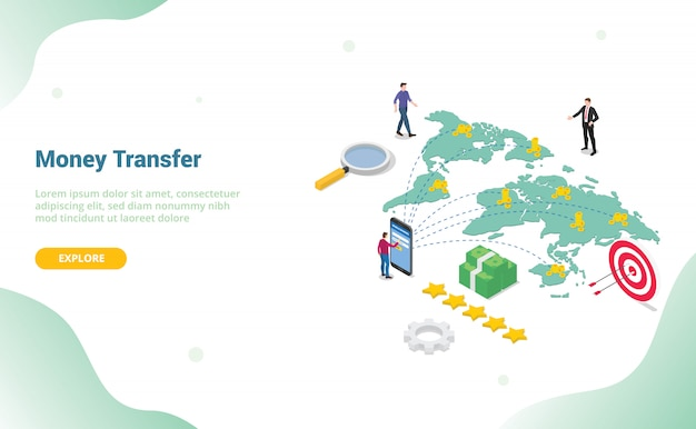 Concetto di trasferimento di denaro con persone che inviano denaro per modello di sito web o home page di destinazione