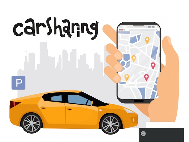 Concetto di trasporto di città mobile