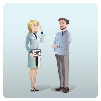Concetto di trattamento medico dei cartoni animati