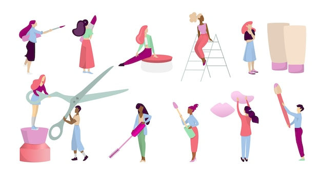 Concetto di trucco. persone con strumento di trucco sulla procedura di bellezza, applicando cosmetici sul viso. illustrazione in stile cartone animato