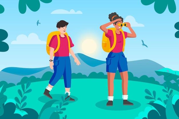 Concetto di turismo eco con uomo e donna
