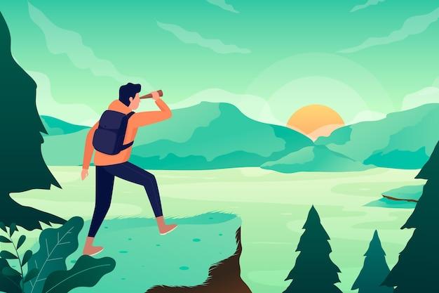 Concetto di turismo ecologico con le montagne