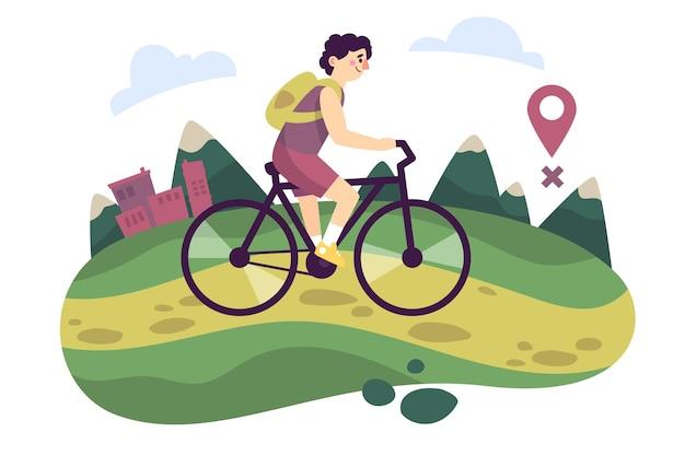 Concetto di turismo locale con ciclista