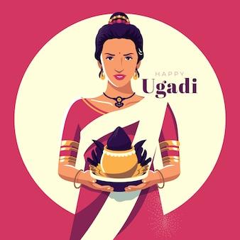 Concetto di ugadi design piatto