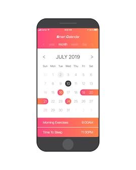 Concetto di ui di app di calendario luglio 2019 modello di pagina vettoriale