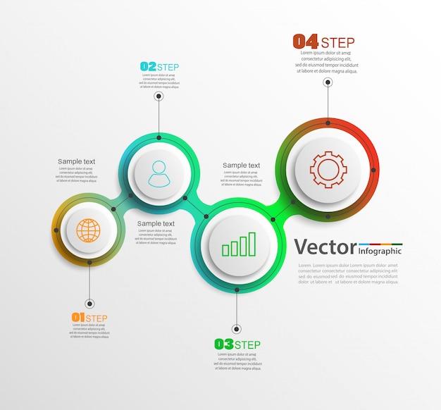 Concetto di un'infografica colorata con icone di affari