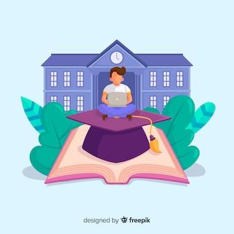 Concetto di università piatto con elementi di educazione