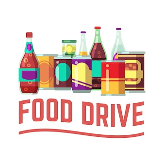 Concetto di vacanza cibo drive. cibo in scatola per donazione di natale, beneficenza e aiuto dei senzatetto. illustrazione vettoriale