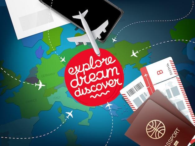 Concetto di vacanza con mappa del mondo, esplora il sogno scopri