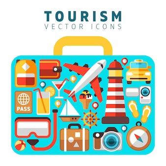 Concetto di vacanza vacanza viaggio con icone di vettore di turismo piatto in forma di valigia. set di icone spiaggia