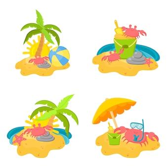 Concetto di vacanze estive sulla spiaggia con granchi carini