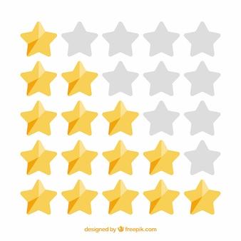 Concetto di valutazione a stelle lucenti