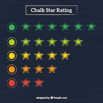 Concetto di valutazione di stelle lavagna colorata