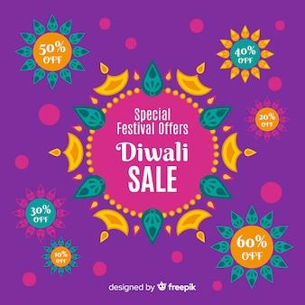 Concetto di vendita di diwali design piatto