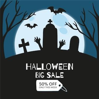 Concetto di vendita di halloween disegnati a mano