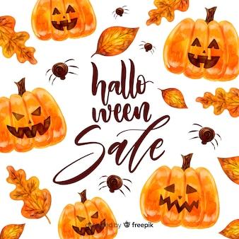 Concetto di vendita di halloween in acquerello