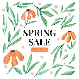 Concetto di vendita di primavera dell'acquerello
