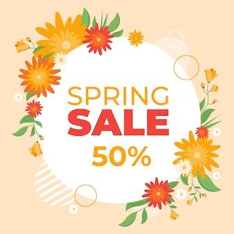 Concetto di vendita di primavera disegnata a mano