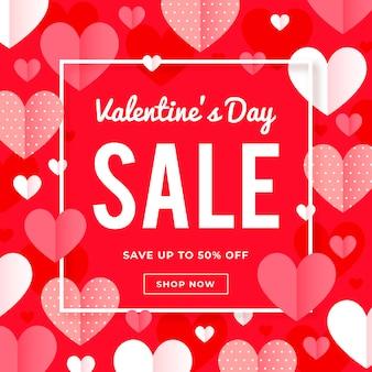 Concetto di vendita di san valentino design piatto