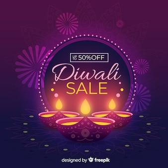 Concetto di vendita diwali con sfondo design piatto