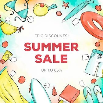Concetto di vendita estate dell'acquerello