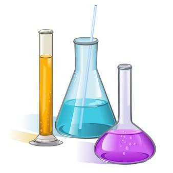 Concetto di vetreria di boccette di laboratorio