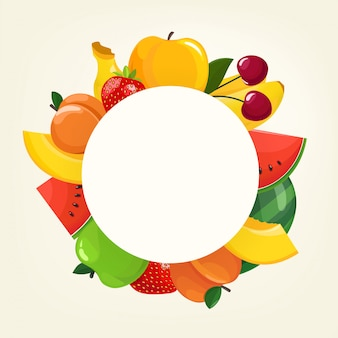 Concetto di vettore con frutti di colore