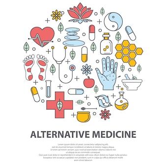 Concetto di vettore del centro di medicina alternativa.