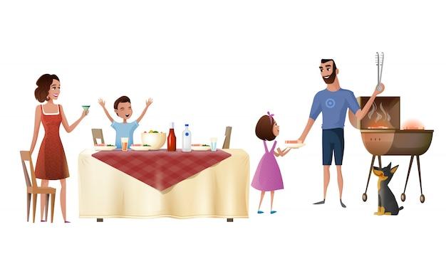 Concetto di vettore del fumetto della cena di festa della famiglia