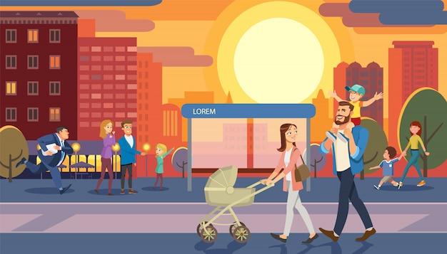 Concetto di vettore del fumetto della passeggiata di città di mattina della famiglia