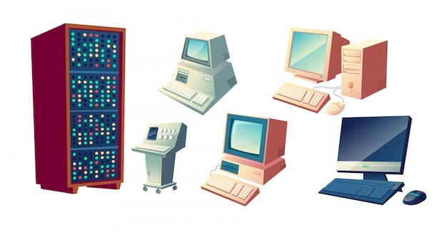 Concetto di vettore del fumetto di evoluzione dei calcolatori. le vecchie stazioni di calcolo d'annata, retro unità di sistema e monitor, pc desktop moderno con le illustrazioni della tastiera e del topo hanno messo isolato su fondo bianco