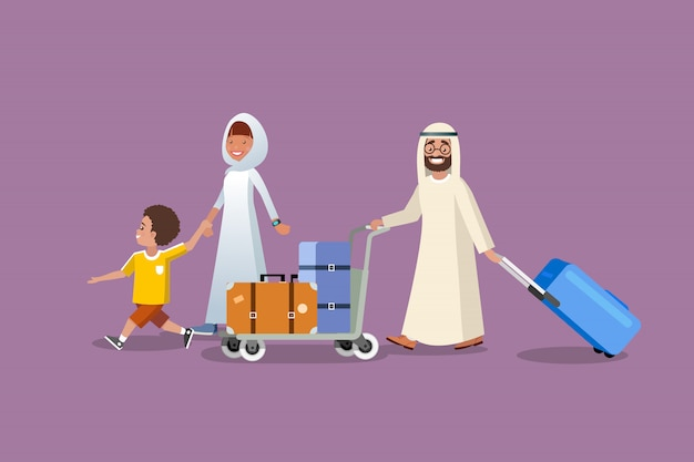 Concetto di vettore del fumetto di viaggio di vacanza di famiglia musulmana