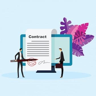 Concetto di vettore di firma elettronica. firma di un contratto con una firma elettronica. illustrazione vettoriale