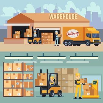 Concetto di vettore di magazzino stoccaggio e spedizione logistica. illustrazione di carico, di consegna e di spedizione di stoccaggio e trasporto