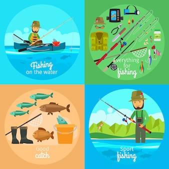 Concetto di vettore di pesca