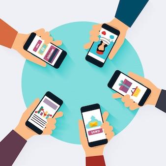 Concetto di vettore di rete sociale. set di icone social media. illustrazione di design piatto per siti web design infografico con avatar di laptop. sistemi e tecnologie di comunicazione.