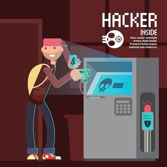 Concetto di vettore di sicurezza informatica e di crimine informatico con il carattere del pirata informatico del fumetto