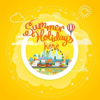 Concetto di vettore di viaggio estivo. illustrazione di viaggio vacanza. vacanze estive qui