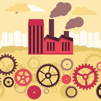 Concetto di vettore - fabbrica di costruzione e paesaggio