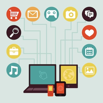 Concetto di vettore - infografica di sviluppo di app mobile in stile piano con social media e tecnologia