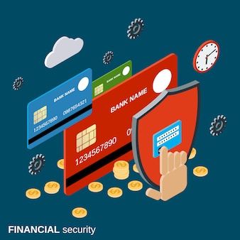 Concetto di vettore isometrico piatto 3d di sicurezza finanziaria
