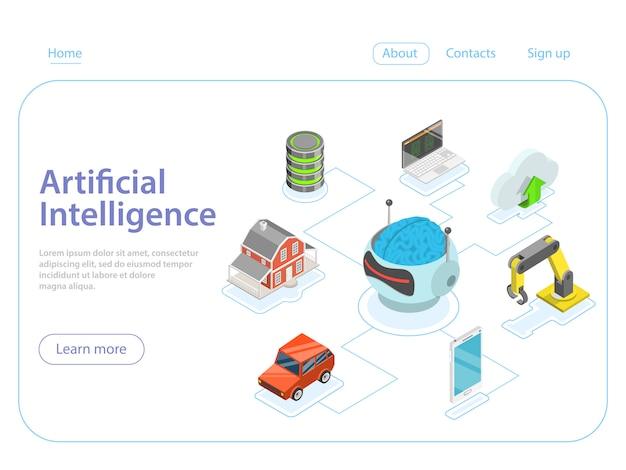 Concetto di vettore isometrico piatto di intelligenza artificiale.