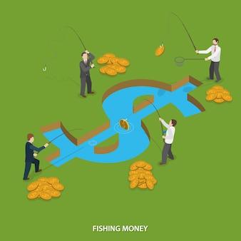 Concetto di vettore isometrico piatto di soldi di pesca.