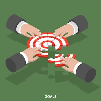 Concetto di vettore piatto isometrica di obiettivi di squadra.